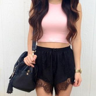 shorts uberr by design lace shorts summer summer outfits black sexy blogger holidays beach pants beachwear bag