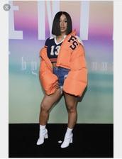 coat,orange,shoes,cardi b,shirt,13,stripes,crop tops,navy blue crop top