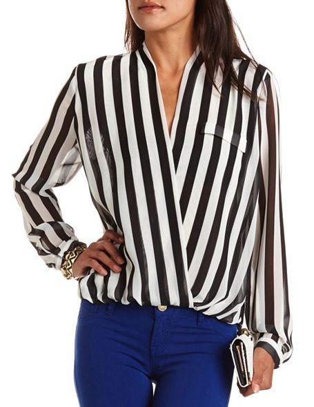 7a044f62b74 Vertical Stripe Surplice Blouse  Charlotte Russe
