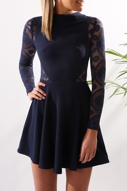 Navy Blue Lace Dress with Sleeves