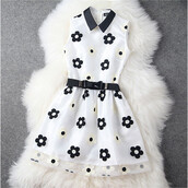 dress,daisy,black,white,black and white,lace,belted