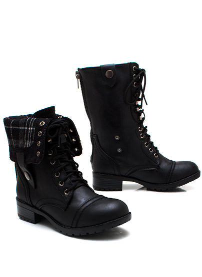 GJ | Keep Tabs Combat Boots $34.50 in BLACK BROWN CAMEL - New Shoes | GoJane.com
