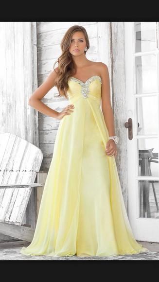 prom dress long prom dresses yellow dress strapless