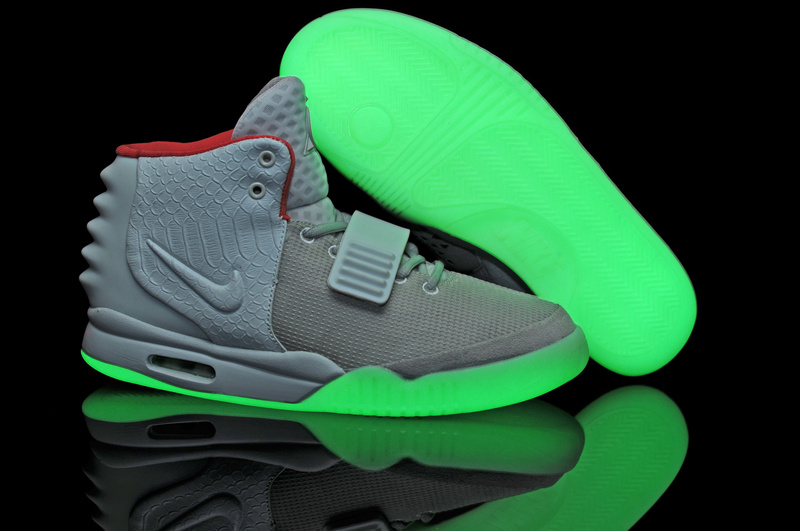 Nike Air Yeezy 2 Glow In The Dark Shoes Wolf Grey White - Nike Glow In The Dark Shoes