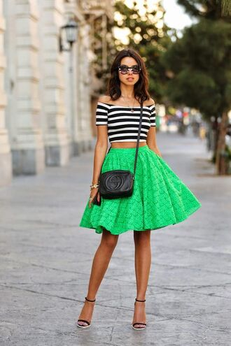 top off the shoulder off the shoulder top stripes plaid skirt black and white summer summer outfits