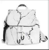 bag,eddie borgo,marble,backpack,satchel,cute,small,exact,white,grey,black,marble backpack