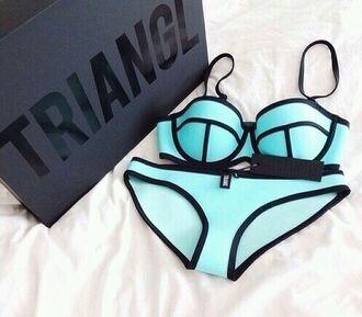 swimwear blue cute aqua diva vintage fashion aqua blue triangle bikini triangl neoprene bikini bikini triangle blue bikini
