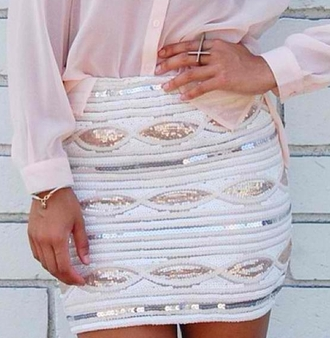 skirt white paillettes glitter
