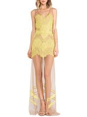 dress,Choies,yellow lace,maxi dress,panel