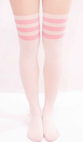 socks pink kawaii kawaii socks pink stripes pink stripe socks over-the-knee socks white pink and white pink and white socks light pink baby pink pale pink socks over the knee over the knee socks