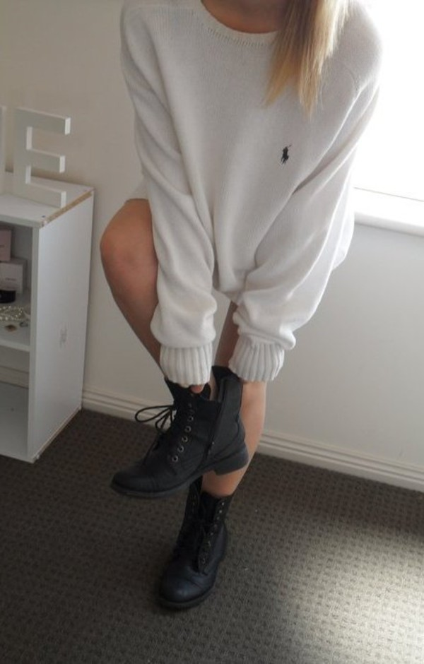 oversized sweater white sweater combat boots ralph lauren sweater raulph lauren ankle boots