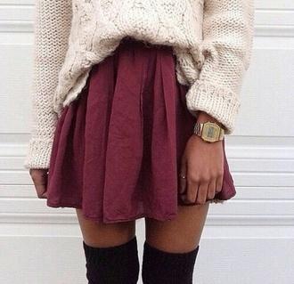 skirt red dress sweater good style short skirt sweet