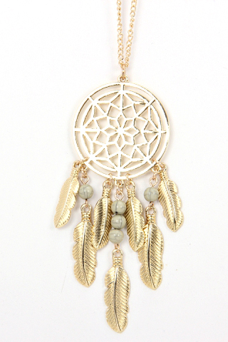 Long Gold Dreamcatcher Chain Necklace