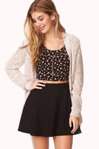 shirt floral cardigan crop tops floral crop top cream cardigan soft cardigan