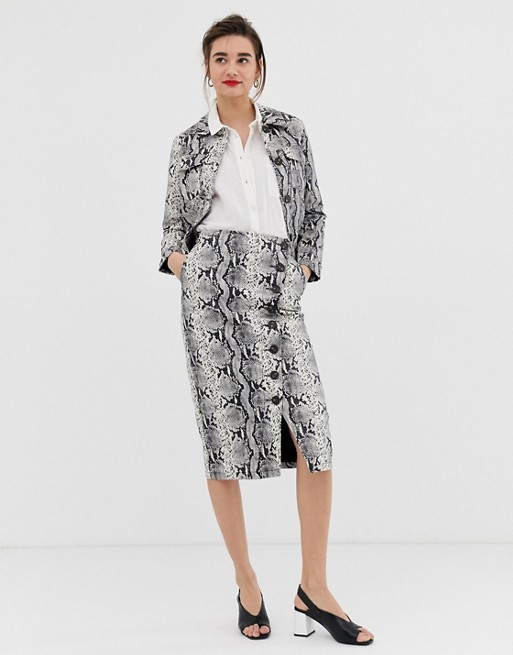 Warehouse faux leather midi pencil skirt with button detail in snake print at asos.com