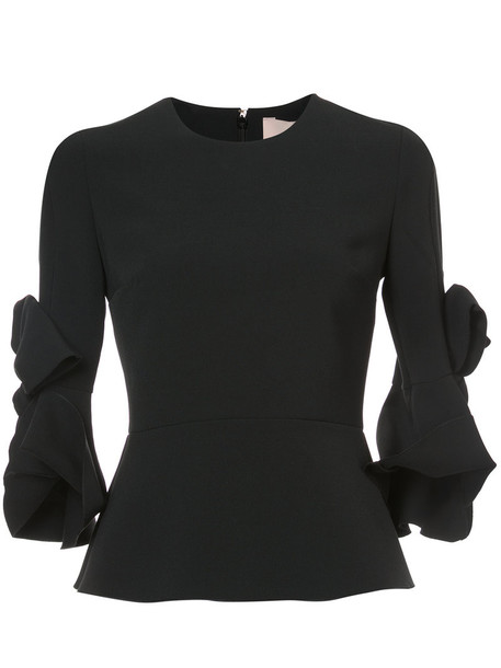 Roksanda blouse bow women spandex embellished black silk top