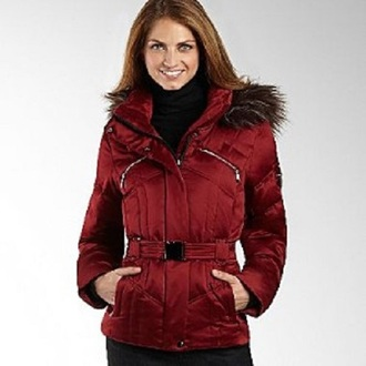 coat red down filled puffer jacket down lining goose down duck down feather fill red coat fur hood belted coat a.n.a