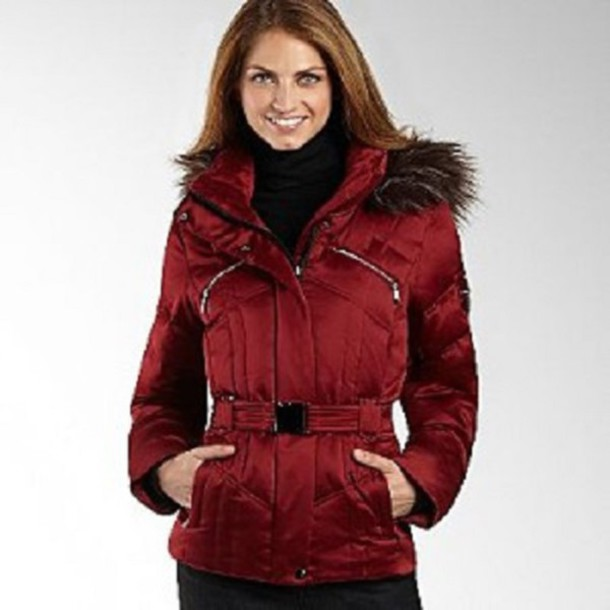Coat: red, down filled, puffer jacket, down lining, goose down ...