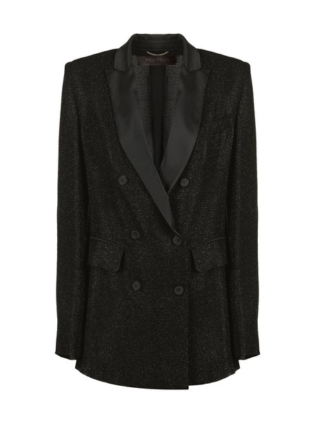 Max Mara Glittered Coat in nero