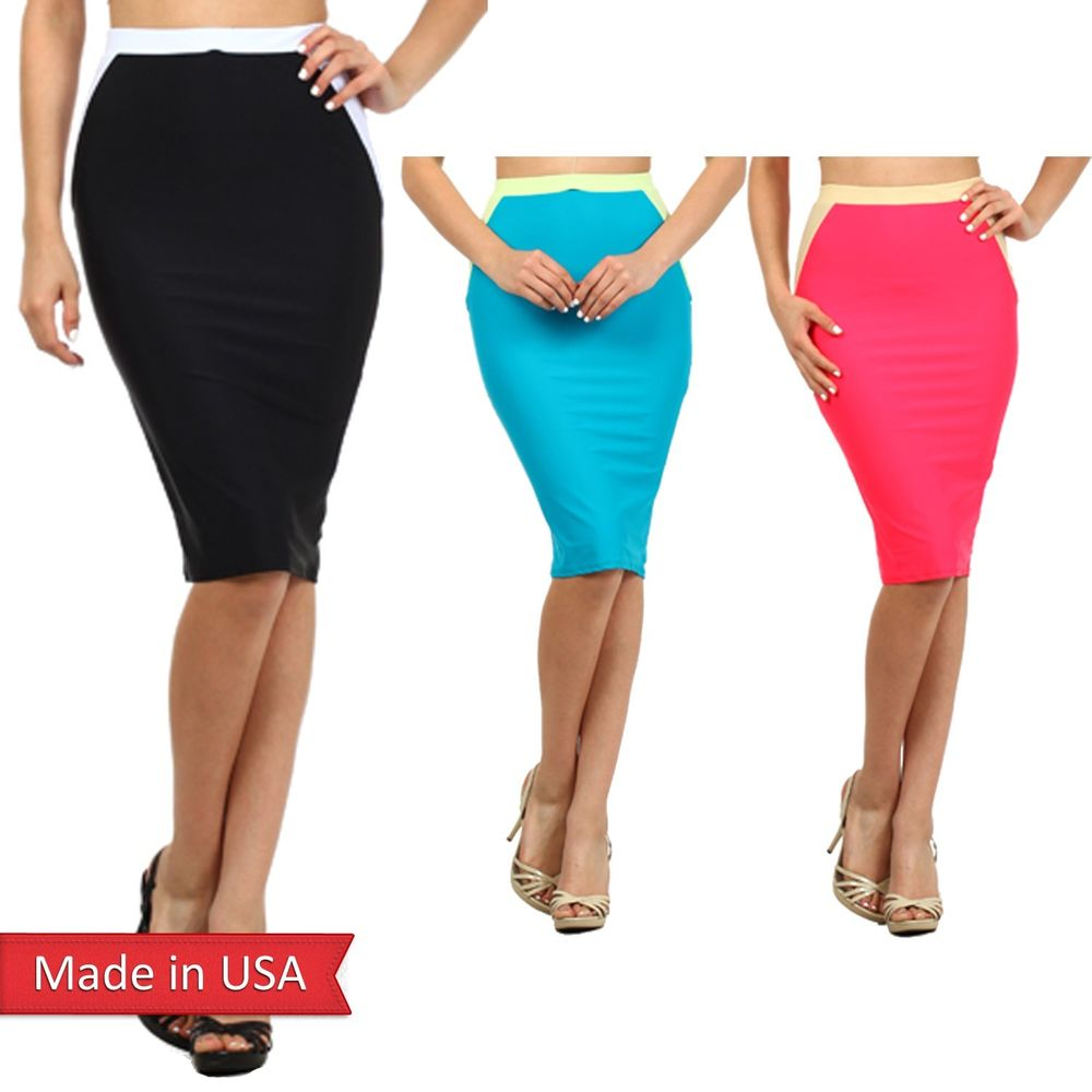 Fitted Colorblock Solid Color Chic Knee Length High Waist Pencil ...