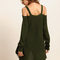 Army green cold shoulder long sleeve knitted t-shirt -shein(sheinside)