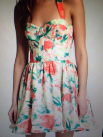 dress around neck sun dress summer dress floral dress orange dress white dress