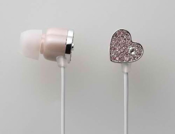 heart earphones technology diamonds