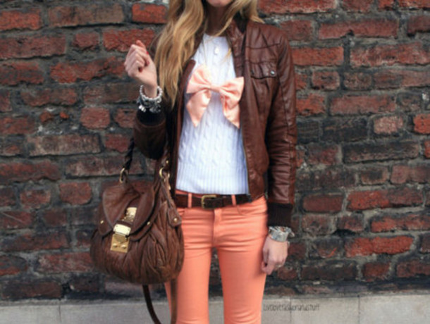 jacket brown clothes peach peach pants bag bow leather jacket white sweater brown leather bag gold bracelets jeans jewels sweater