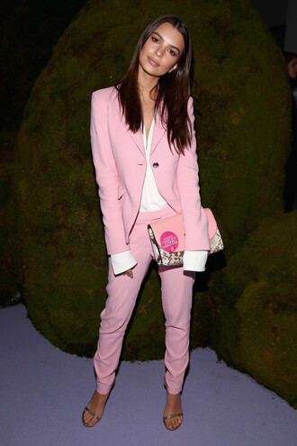 pants emily ratajkowski model off-duty suit pink blazer ny fashion week 2017 fashion week 2017 nyfw 2017