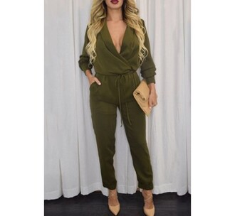 jumpsuit army green plunge v neck rose wholesale purse date outfit classy fashion bodycon jumpsuit bodycon romper bodycon jumpsuit n