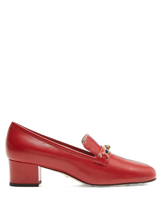 loafers leather navy red shoes