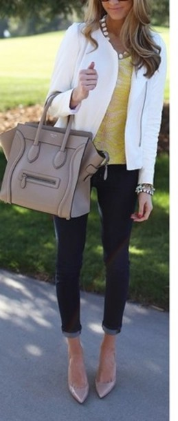jacket white blazer white jacket leather jacket sunglasses necklace bag flats classic shirt jeans