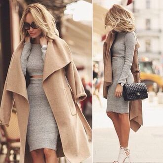 top grey tight booty dress skirt body heels blonde hair fashion style swag trendy chanel knit coat butt bodycon dress crop tops knitted sweater winter outfits shoes