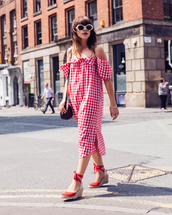 dress,tumblr,red dress,midi dress,gingham,gingham dresses,off the shoulder,off the shoulder dress,sandals,wedges,wedge sandals,sunglasses,white sunglasses,shoes