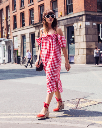 dress tumblr red dress midi dress gingham gingham dresses off the shoulder off the shoulder dress sandals wedges wedge sandals sunglasses white sunglasses shoes