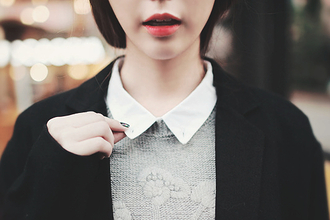 blouse grey top white collar