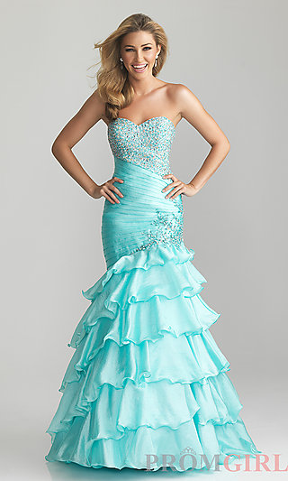 Strapless Beaded Ball Gown, Night Moves Long Prom Dress- PromGirl