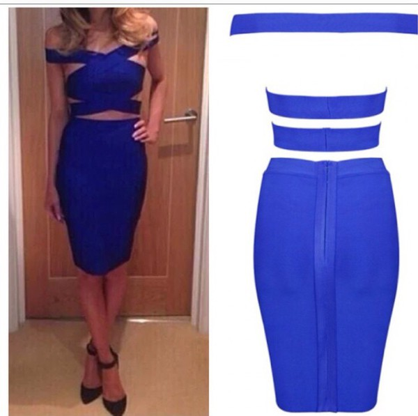 blue two peice blue dress bandage dress bodycon two-piece blue crop top blue skirt blue skirt crop top