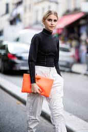 bag,clutch,oversized,pants,blouse