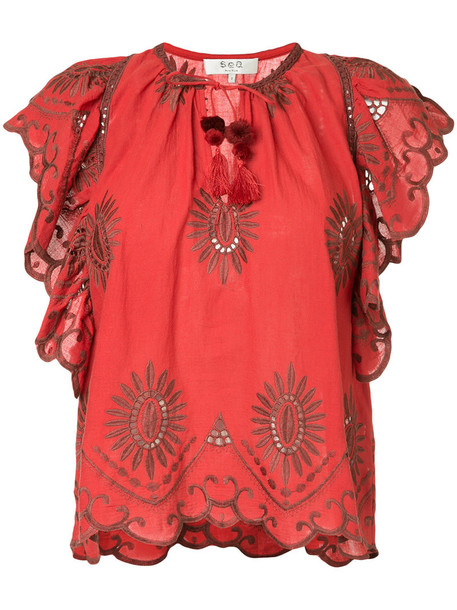 SEA blouse embroidered cut-out women cotton red top