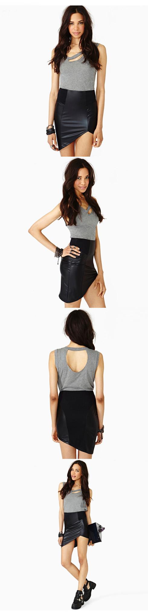PU Asymmetrical Hem Stitching Package Hip Skirt$32