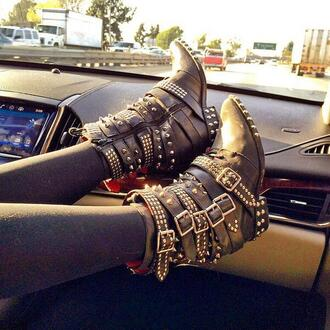 shoes studded shoes ankle boots buckle boots lace up boots grunge zip up boots boots combat boots black combat boots