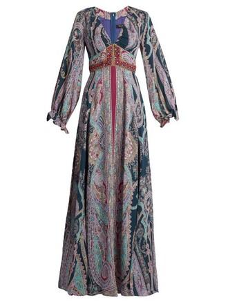 gown print silk paisley purple dress
