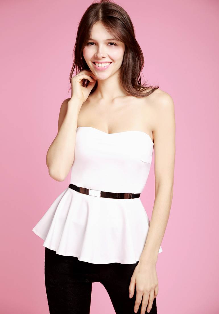 Flared White Top - With Belt - Lookbook Store