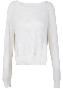 White Long Sleeve Split Knit Crop Sweater - Sheinside.com