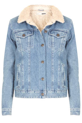 MOTO Vintage Borg Denim Jacket - Denim Jackets - Denim  - Clothing - Topshop