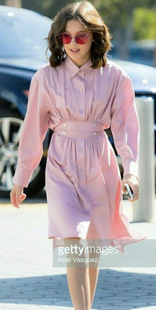 dress silk pink buttons millie bobby brown