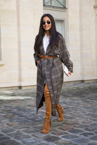 coat white shirt grey plaid coat brown over the knee boots brown belt blogger sunglasses