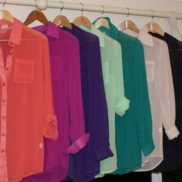 Purple Sheer Long Sleeve Blouse Blouse Colorful Long Sleeves
