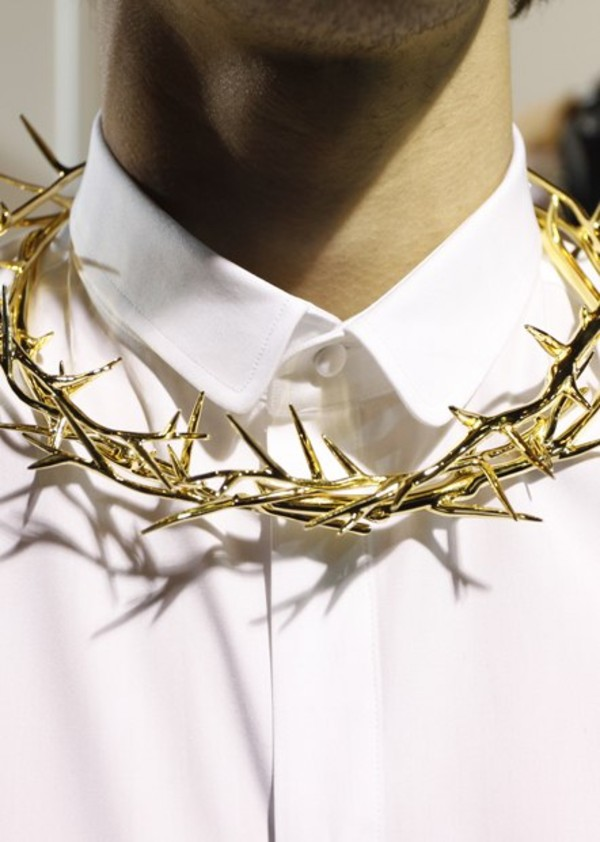 jewels gold necklace white jesus crown